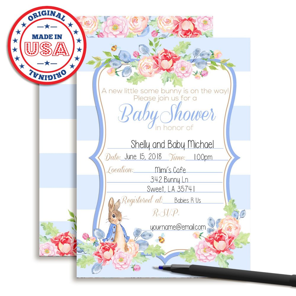 Amazon Little Rabbit Boy Baby Shower Fill In Style Invitations