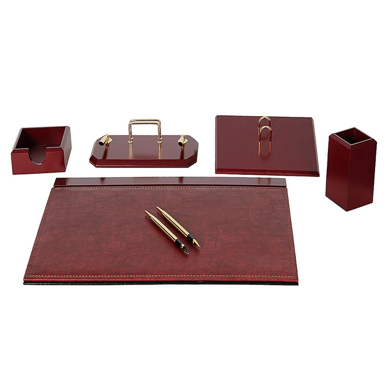 Geniz 6 parti in ufficio organizzatore sottomano scrivania ufficio in tampone set compresi portapenne penna realizzato in pelle artificiale di legno in 4 colori Lussodor