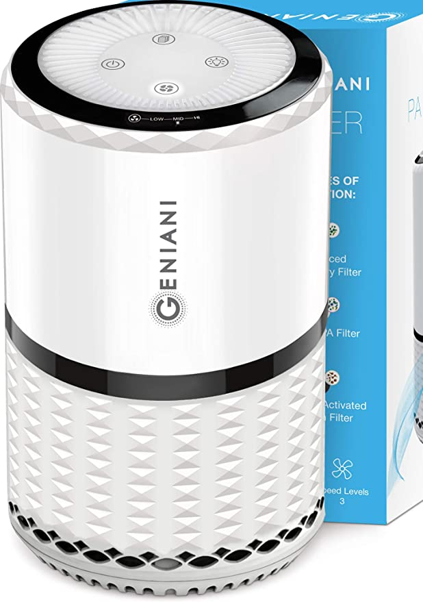 GENIANI Home Air Purifier with True HEPA Filter for Allergies and Pets/Smoke