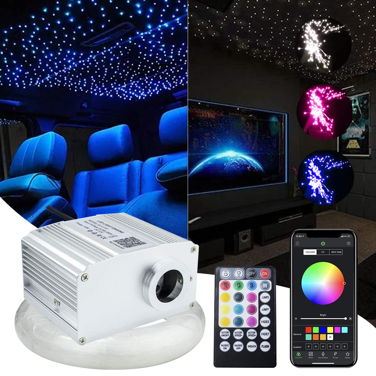 Kingmaled 10W Car Home RGBW APP Control Twinkle Fiber Optic Light Star Ceiling Light Kit, Bluetooth RGBW Music Activated LED Source+28key Remote+Fibers【Total 380pcs of 9.8ft/3m (0.02+0.03+0.04in)】