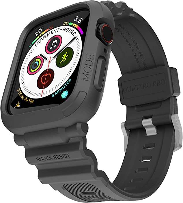 elkson Compatible with Apple Watch Series 6 SE 5 4 Bumper case Band 44mm iwatch Quattro Pro Series Fall Protection Durable Military Grade Protective TPU Mud Shock Proof Resist Men 44 mm Black