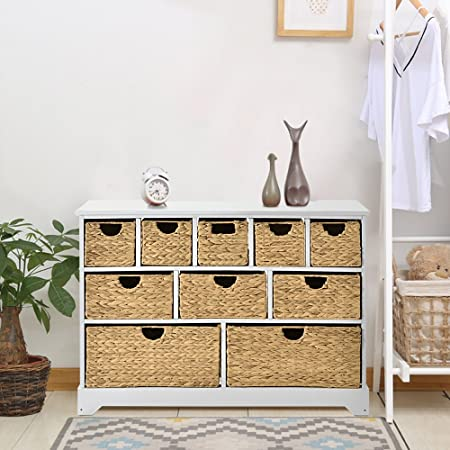 LIFE CARVER Large Storage Chest of Drawers with Baskets Hallway ...
