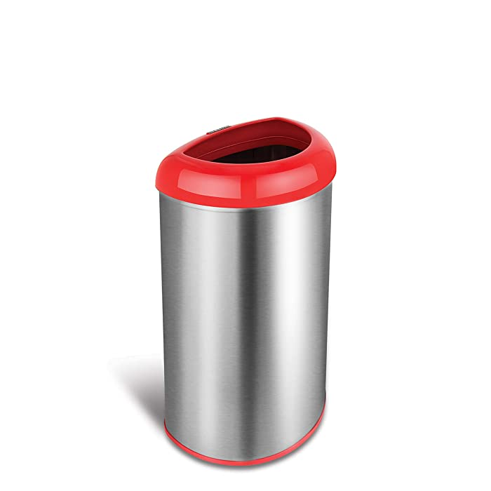 NINESTARS OTT-50-19RD Open Top Office Bathroom Trash Can, 13 Gal 50L, Stainless Steel Base (D Shape, Red Lid)