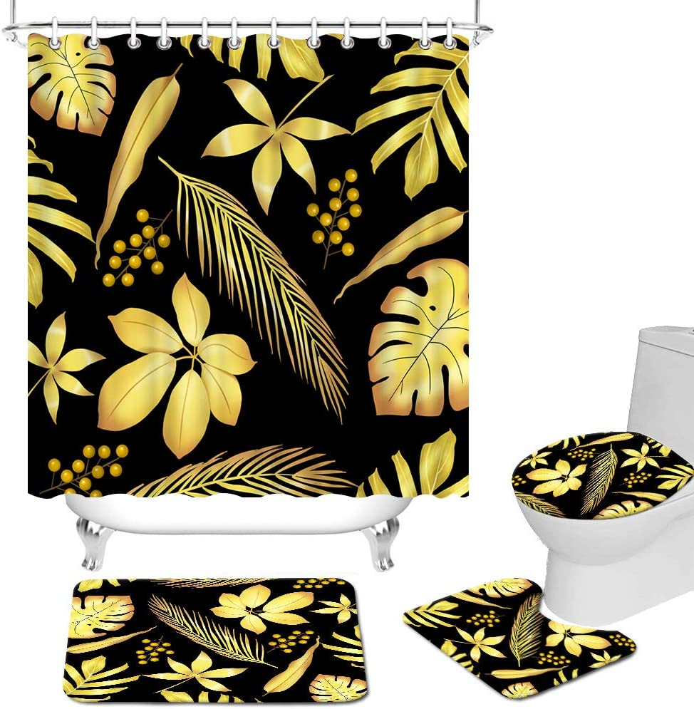 4 Pcs Black and Gold Bathroom Set Tropical Leaves Shower Curtain Set with Non-Slip Rugs Toilet Lid Cover and Bath Mat Golden Leaves Bath Curtain Modern Unisex Fabric Bathroom Decor with Hooks