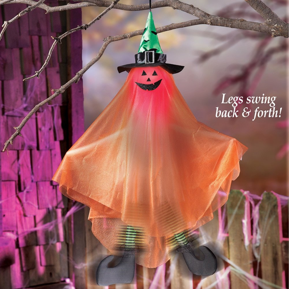 Animated and Sound-Activated Pumpkin Witch Lights up and Swings Back and Forth