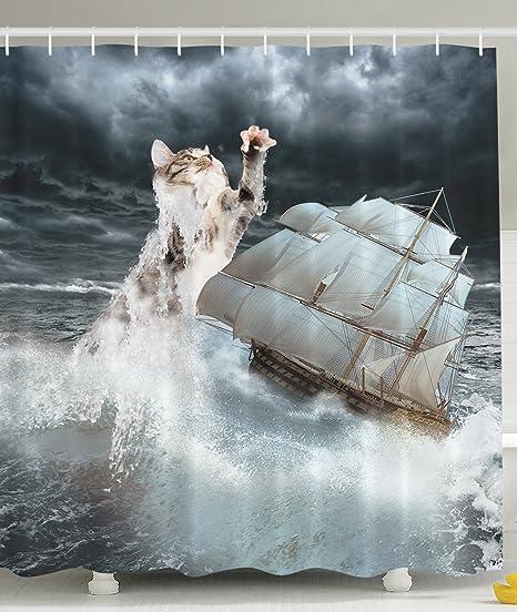 BBFhome Ourlet Lestu0026eacute; Rideaux De Douche Rideau Sans Odeur Ozean Dekor  Scary Kleine Katze Ku0026auml