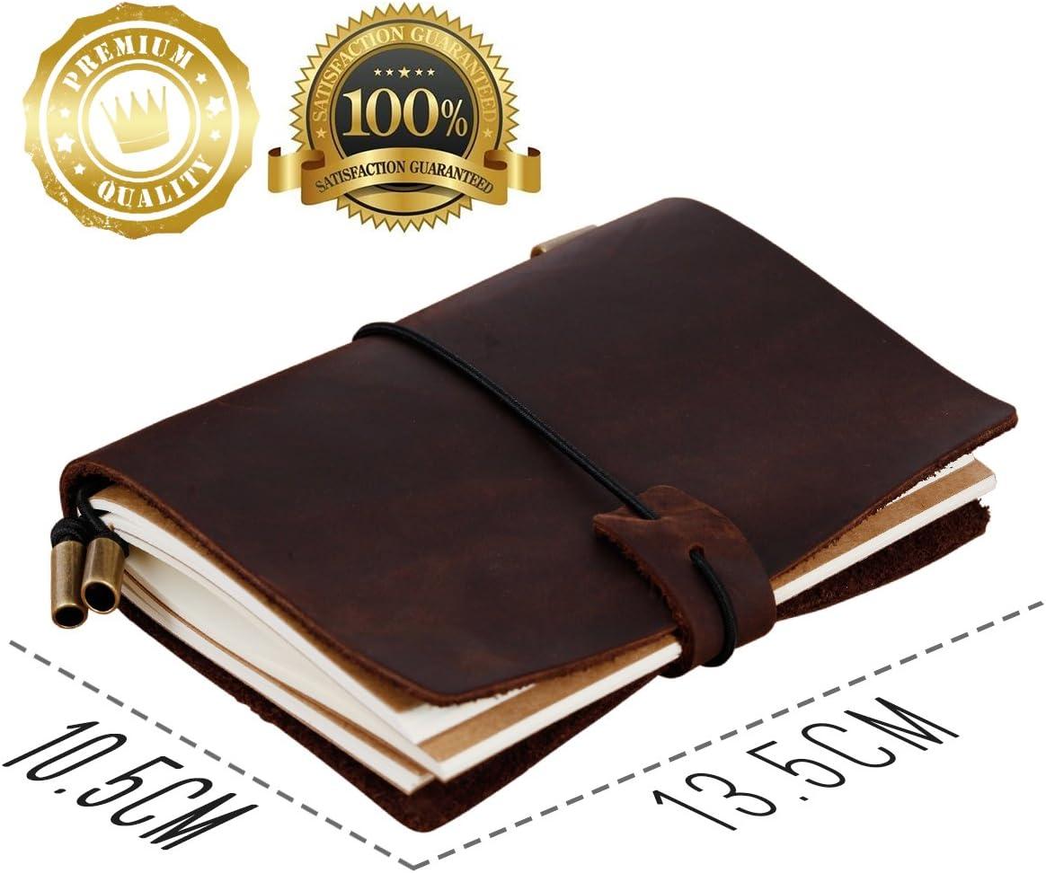 5.1 /× 4.1 Tonpop Carnet Voyage,Vintage Carnet de Notes Cahier en Cuir Style-r/étro Brun Bullet Journal pour Bureau et Les Hommes daffaires Journal de Voyage,Mini 13.5cm /× 10.5cm