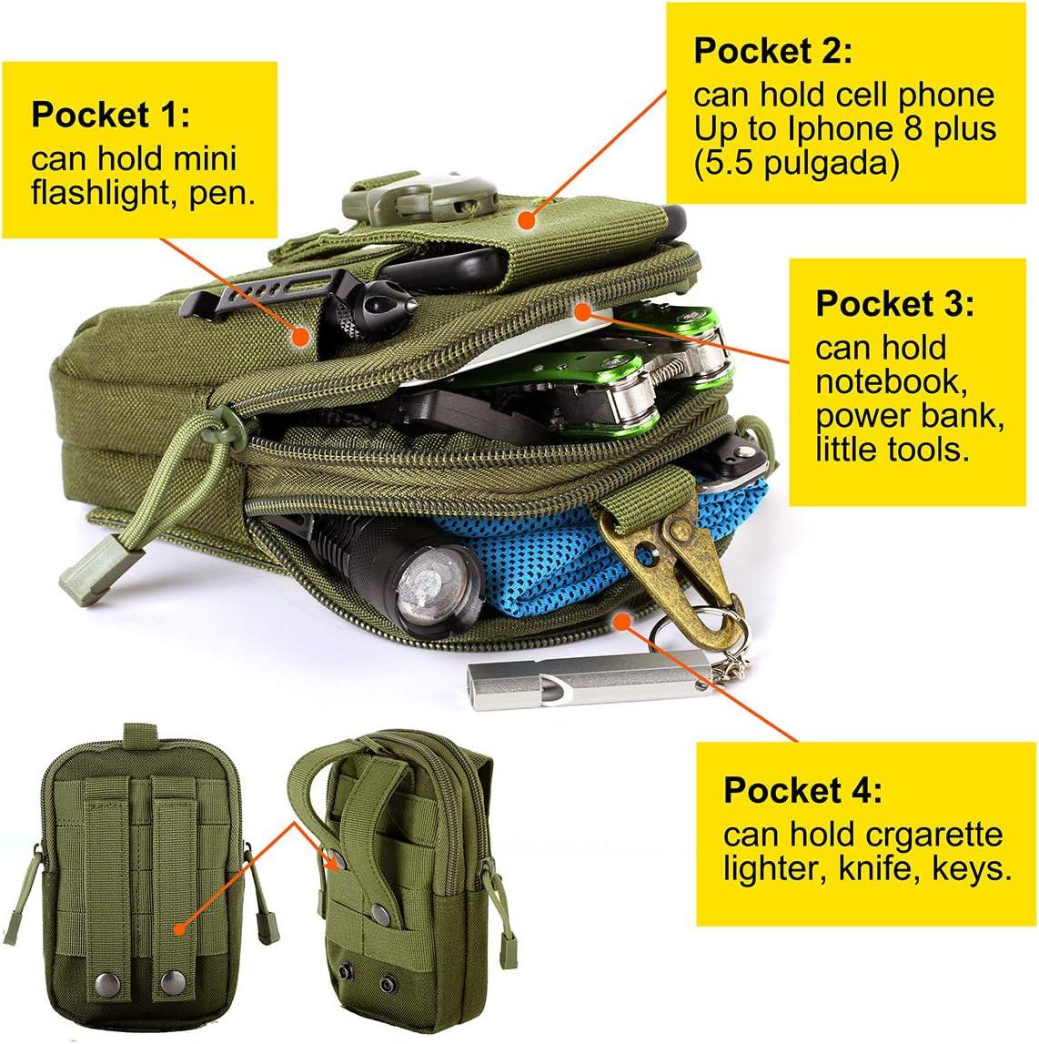 Yalatan Tactical 1000D Sac /à Ceinture ext/érieure Multitool Molle Pouch Tool Zipper Poche de la Hanche Accessoires de Chasse Poche Ceinture