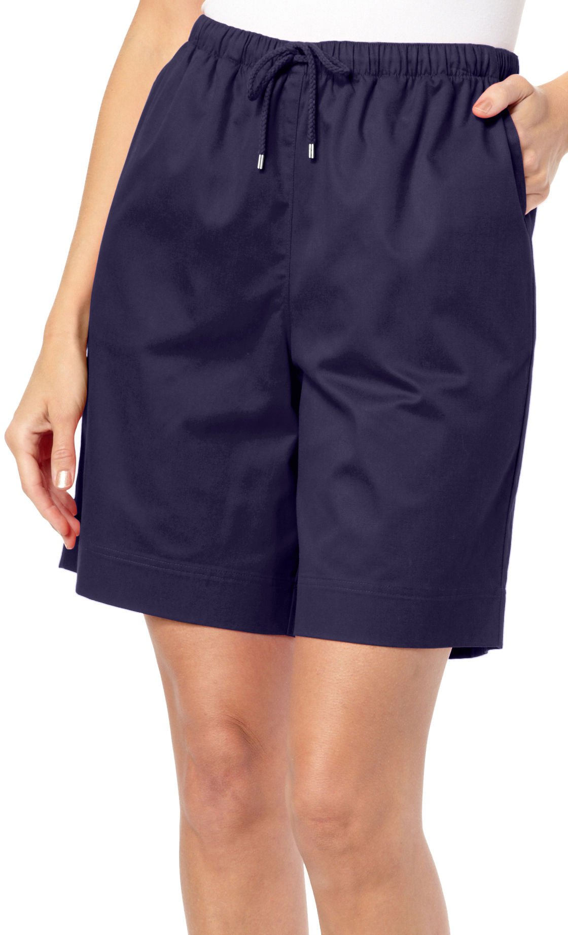 Coral Bay Petite Solid Drawstring Twill Shorts Large Petite Eclipse blue