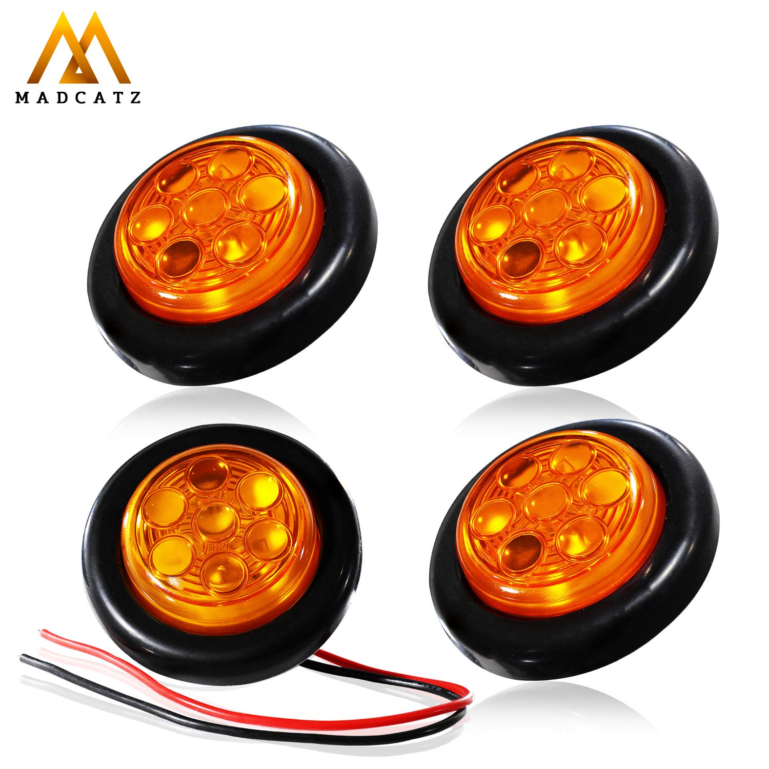 MadCatz Pack of 4 2 Inch Amber LED Round Side Marker Lights 7 Diodes Sealed Flush Mount 2835 SMD Super Bright Trailer Bus Truck RV Cabin Pickup Van Lorry Waterproof 24V DC with Rubber Grommet O724
