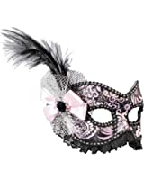 Black and Silver Venetian Showgirl Masquerade Women Mask