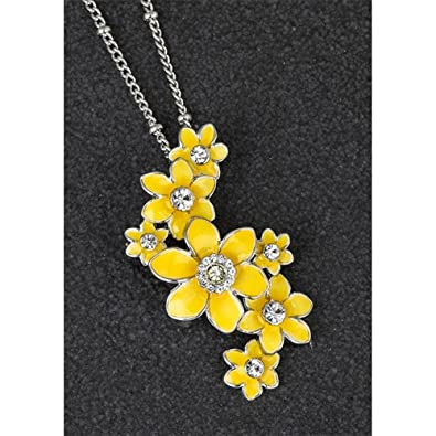 Equilibrium Radiant Daffodil Cluster Enamel & Crystal Pendant Necklace Gift Boxed X6Ys7Q