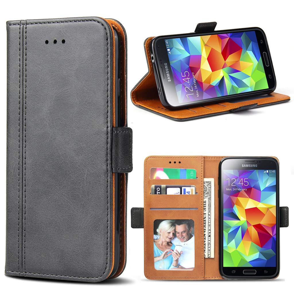 Galaxy S5 Case, Bozon Wallet Case for Samsung Galaxy S5/ S5 Neo Flip Folio Leather Cover with Stand/Card Slots and Magnetic Closure (Dark Grey)