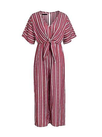 22f99c9aba00 Amazon.com  Missy Chilli Women s V Neck Short Sleeve Jumpsuit Casual Wide  Leg Striped Long Jumpsuit Romper  Clothing