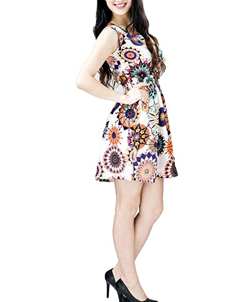 Women Summer Sleeveless Dress Sunflower Print Casual Beach Vintage A-Line Mini Dress Vestido Verano