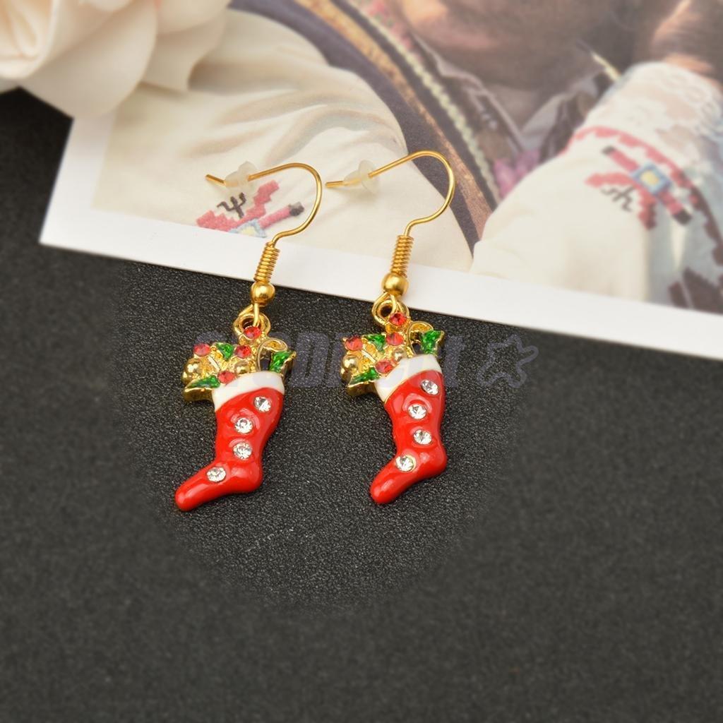 Hot Christmas Santa Claus Boot Stocking Crystal Enamel Dangle Earrings