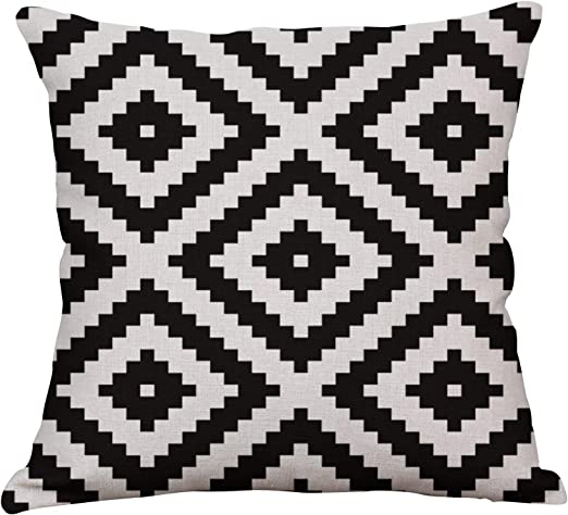 Yeeju Geometric Decorative Throw Pillow Covers Square Cotton Linen Cushion Covers Outdoor Sofa Home Pillow Covers 20x20 Inch Home Kitchen