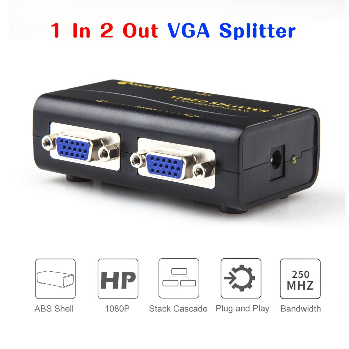 Sea Wit VGA Splitter, 2-Port VGA Monitor Splitter for Screen Duplication Supports 1920x1440 Resolution 250MHz Bandwidth -1 in 2 Out by Sea Wit (Image #4)
