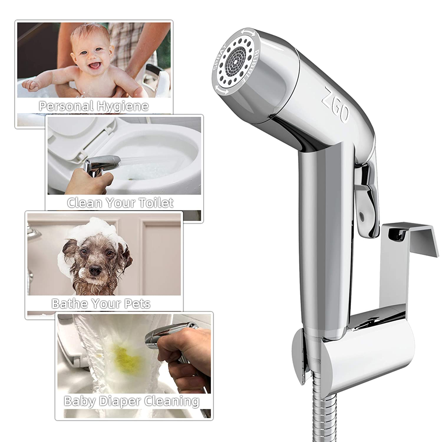 Handheld Bidet Sprayer for Toilet,ZGO Baby Cloth Diaper Sprayer with Superior Complete Accessories,Adjustable Pressure Bathroom Sprayer with Stainless Steel Hose,Support Wall or Toilet Mount