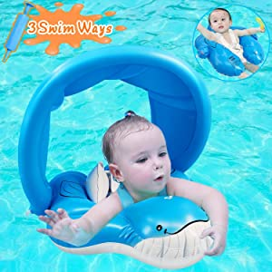 Baby Swimming Pool Floats with Removable Canopy and Safety Crotch Strap Support, Funny Whal Infant Swim Pool Float for Toddlers Trainer Kids Swimming Pool Rings Sunshade Toy for Children of 6-30 Month