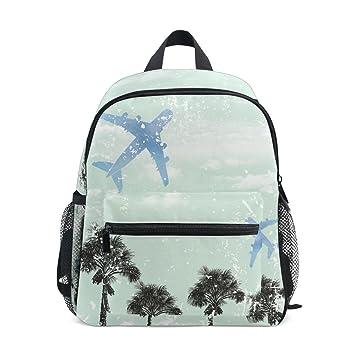 Grunge - Mochila para niños, diseño de palmeras tropicales y avión vintage: Amazon.es: Electrónica