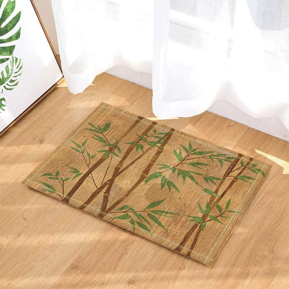 Spa Decors Hand Painted Bamboo Branches on Wood Texture Bath Rugs Non-Slip Doormat Floor Entryways Indoor Front Door Mat Kids Bath Mat 15.7x23.6in Bathroom Accessories