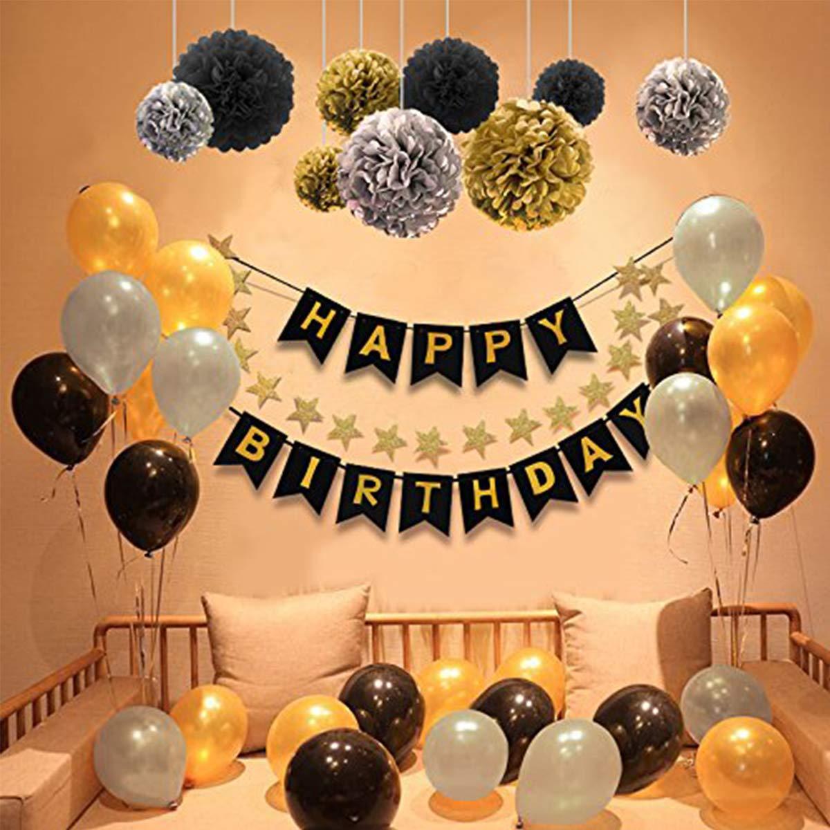 Herefun Decoración Cumpleaños, Decoraciones Fiesta de Cumpleaños, 1 Happy Birthday Bandera, 30 Globos, 9 Tissue Pom Poms, 20 Decoración de estrellas ...