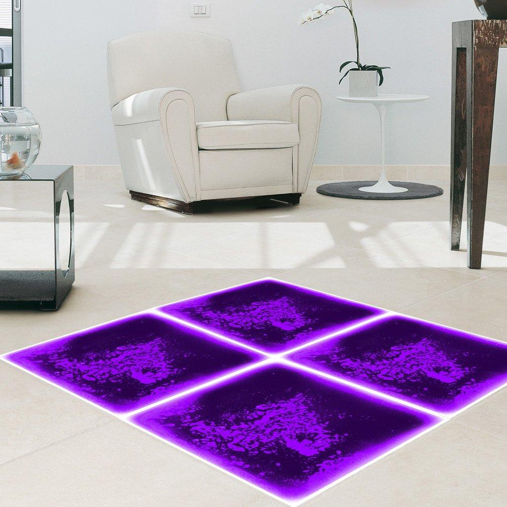 Art3d Fancy Floor Tile For Kids Room Liquid Encased Floor Tile, 12'' X 12'' Purple