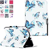 Samsung Galaxy Tab E 9.6 Case, Deenor Colorful Painting and Stylish Drawing Wallet Case Book Style PU Leather Folio Protective Stand Case Cover for Samsung Galaxy Tab E 9.6-Inch SM-T560 / T561 / T565. (Flowers and Butterflies)