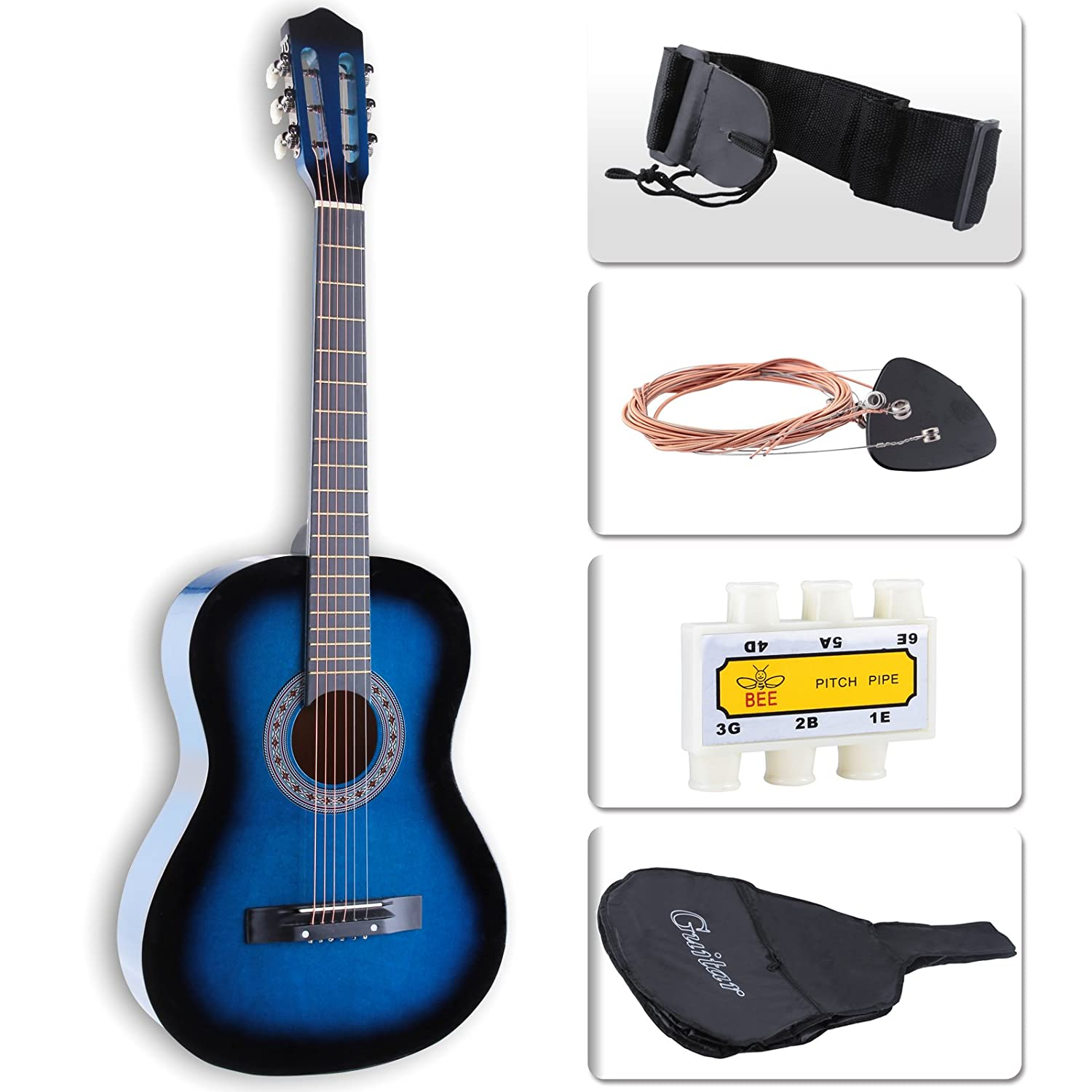 LAGRIMA Beginners Acoustic Guitar w/Guitar Case, Strap, Tuner & Pick Steel Strings (Brown)