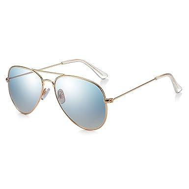 363eb0f9e Sunglass Junkie Mens & Womens Pale Gold and Silver Mirror Aviator Sunglasses.  Retro Top Gun Fashion ...