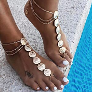 Zoestar Boho Coin Anklet Bracelet Summer Beach Coin Foot Jewelry Accessories for Women(2 PCS)