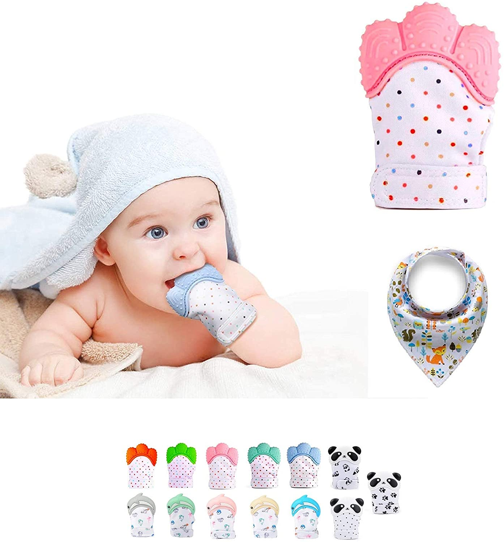 Funky Planet Baby dentición Manoplas, Protege Manos Bebés, Pain Relief Tranquilizadora de Edad + BUFANDAS (Pink)