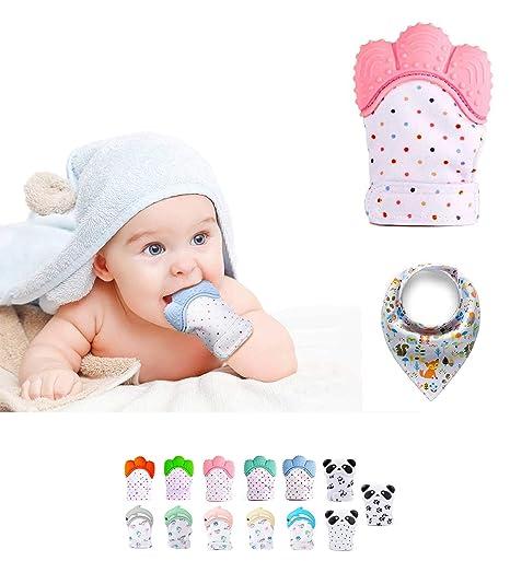 Funky Planet Baby dentición Manoplas, Protege Manos Bebés, Pain Relief Tranquilizadora de Edad + BUFANDAS (Mint) (Paw) (Pink)