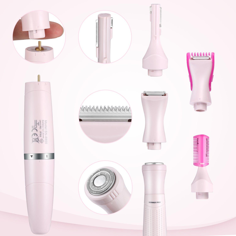 Elektrorasierer Damen 3 in 1,  Elektrischer Damenrasierer für Gesicht, Augenbrauen, Körper und Intimbereich, Haarentfernungssystem für Frauen, batteriebetrieben