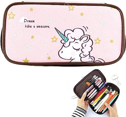 Estuche para lápices de unicornio, de gran capacidad, ideal para niñas y niños, regalo escolar, regalo personalizable, color rosa, organizador de lona con cremallera, suministros de papelería: Amazon.es: Oficina y papelería