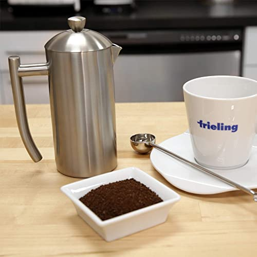 Frieling USA Double Wall Stainless Steel French Press Coffee Maker with Zero Sediment Dual Screen