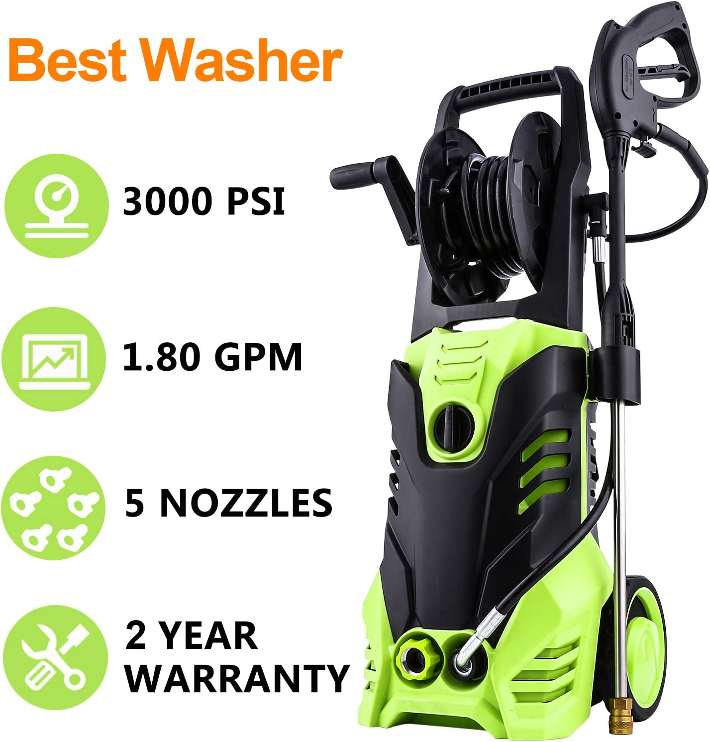 Homdox Power Washer 3000 PSI Electric Pressure Washer 1.80 GPM High Pressure Washer with 5 Nozzles for Car, Garden, Patio