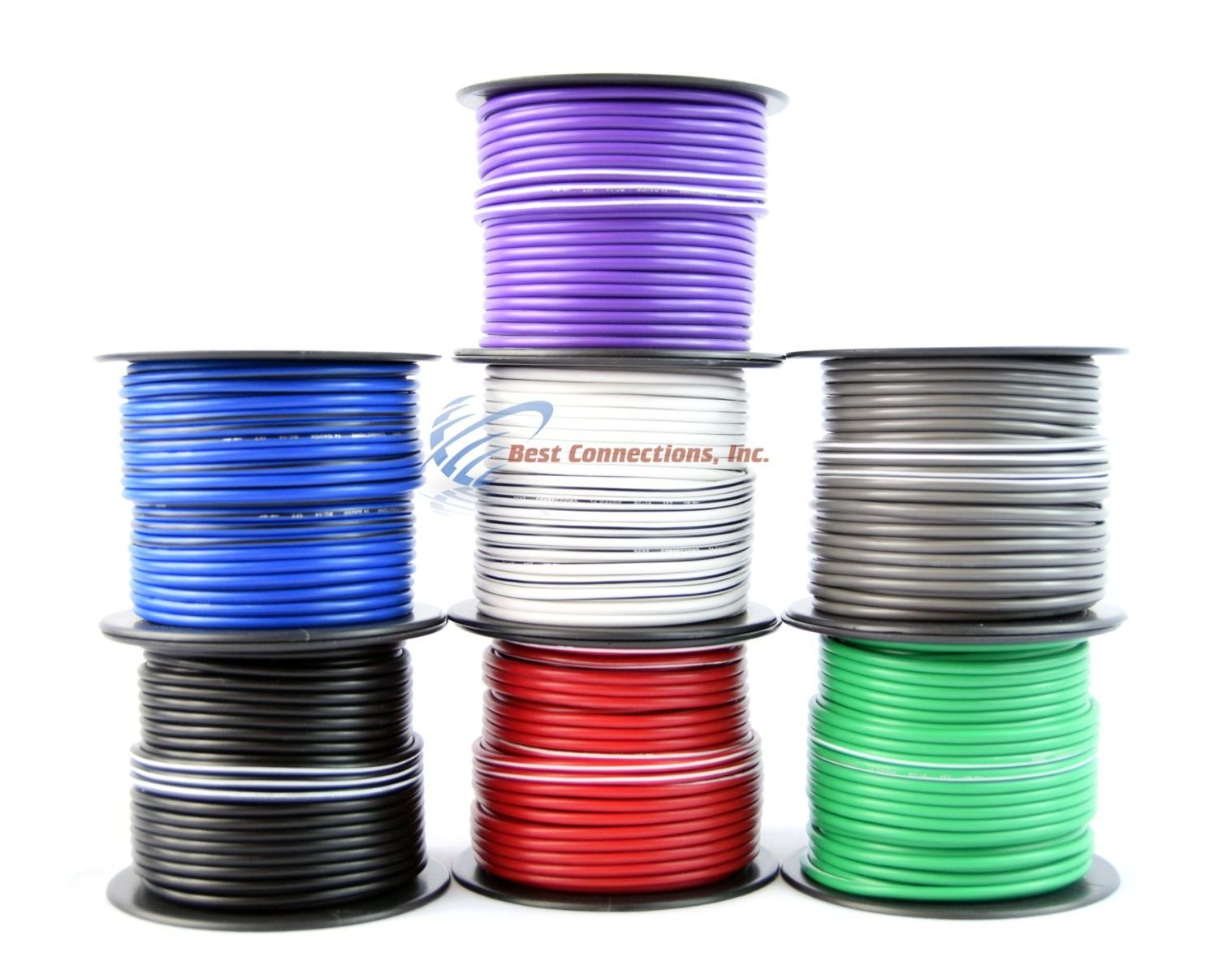 Best Connections 4 Rolls 100 Feet 14 Gauge Stripe Tracer Cable Single Conductor Remote Wire
