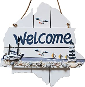 Nautical Beach Wall Decor Coastal Welcome Sign Ocean House Hanging Decorations for Home Door