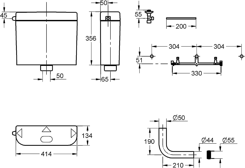 Import Allemagne GROHE 37791SH0 R/éservoir de Chasse dEau 6 ou 9 Litres Fonction Start//Stop d/Économie dEau Isolation Anticondensation Blanc