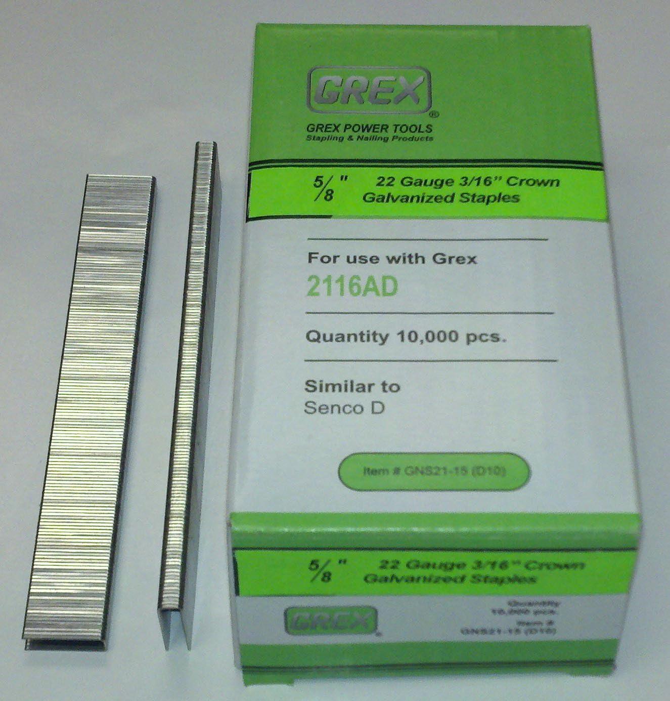 22 Gauge 3//16 Crown 5//8Long 10,000//BX Galvanized Staples Grex GNS21-15 D10