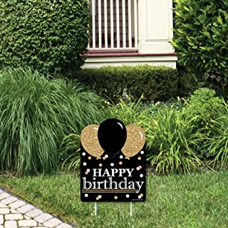 product image for Big Dot of Happiness Adult Happy Birthday - Gold - Outdoor Lawn Sign - Birthday Party Yard Sign - 1 Piece