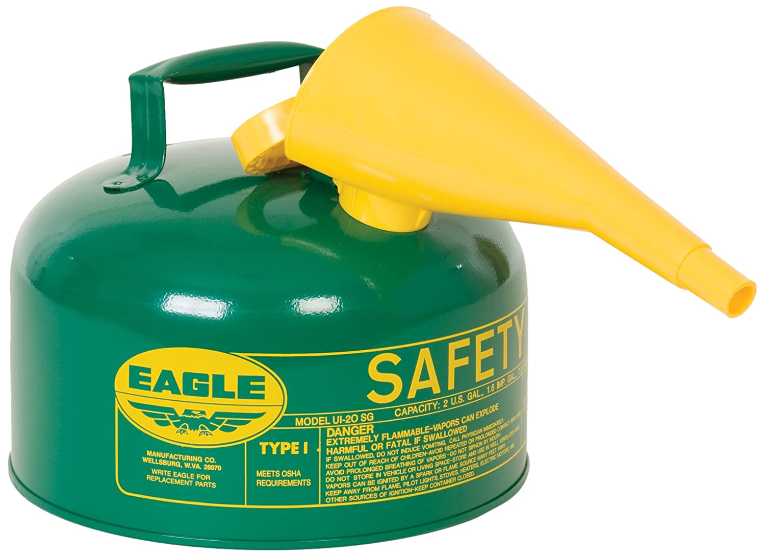 Safety Gas Can >> Eagle Ui 25 Fsg Green With Funnel Metal Safety Gas Can 2 5 Gal Capacity