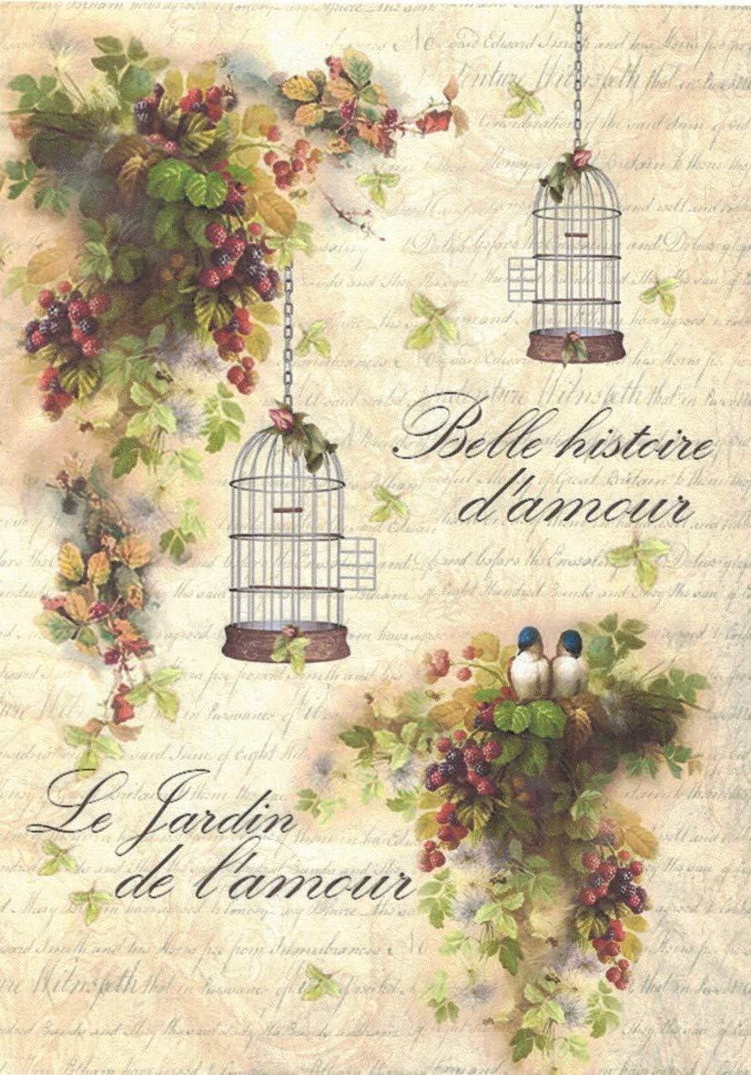 Zita`s Creative Reispapier A4 Strohseidenpapier Motiv-Strohseide Le Jardin de l`Amour Decoupage Papier