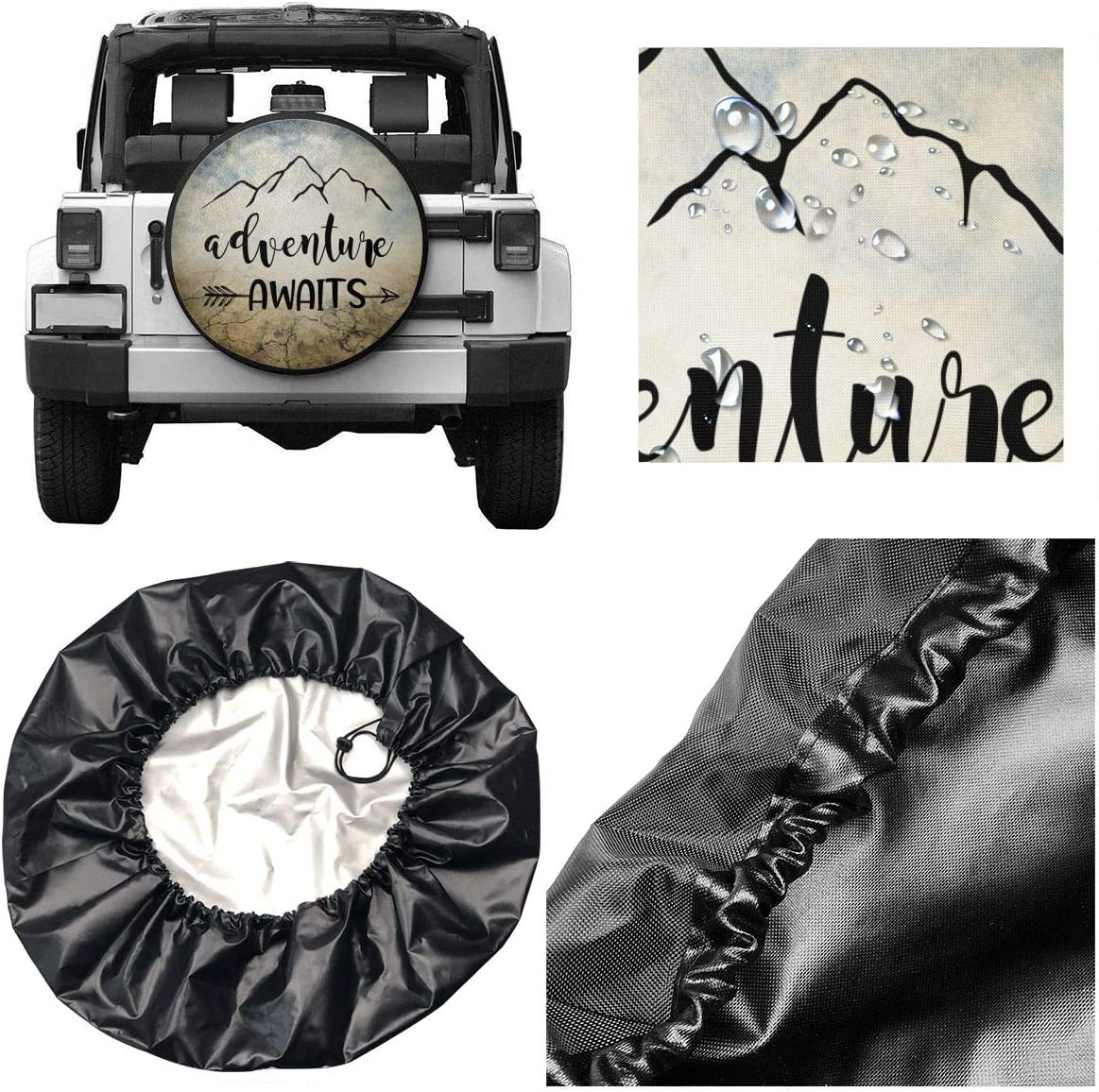 YZ-MAMU Spare Tire Cover Adventure Awaits Dust-Proof for Jeep Trailer RV SUV Truck Camper Travel Trailer Accessories