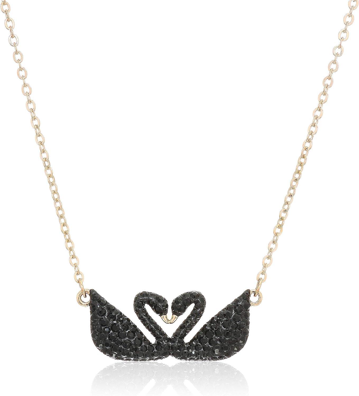 Swarovski Collar Iconic Swan, Negro, Baño en Oro Rosa