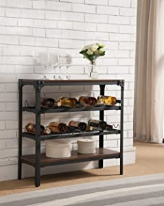 Kings Brand Furniture - Lorenzo Console Table Wine Rack, Walnut Wood & Black Metal