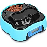 Navaris Distributeur Automatique de Nourriture - Mangeoire Programmable avec Station Bouteille Eau pour Chien et Chat - Gamelle avec 4 Compartiments