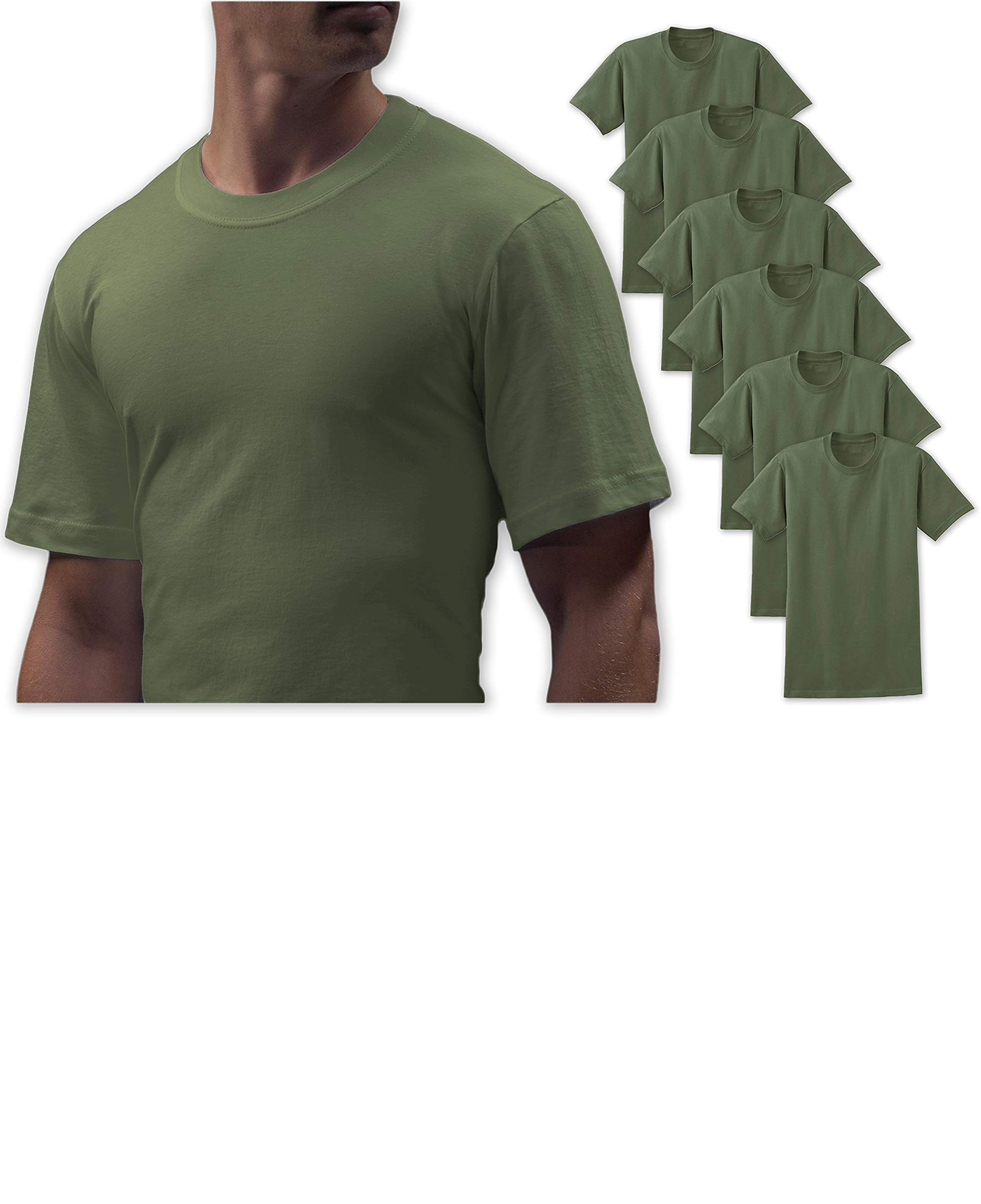 Andrew Scott Big Man 6 Pack Military Green Cotton Crew Neck Short Sleeve T Shirts (5X-Large, 6 Pack- Military Khaki Green)